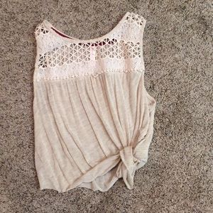 Cream Knotted Crop Top